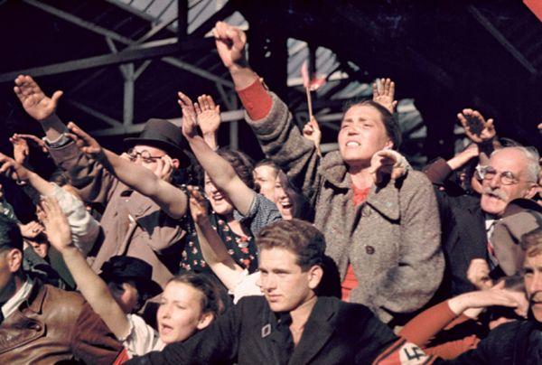 Crowds cheering Hitler's Austrian electi